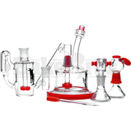 "710 HYPNOSTATE CDXX PUCK RIG W/ RECYCLER ASHCATCHER COLLECTOR SET 6"" ORANGE MALE 14MM"