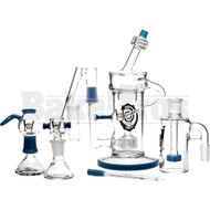 "710 HYPNOSTATE CDXX STR8 KLEIN RECYCLER W/ ASHCATCHER COLLECTOR SET 8"" TEAL MALE 14MM"