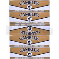 GAMBLER CIGARETTE FILTER TUBES 200 PER PACK GOLD NATURAL Pack of 3
