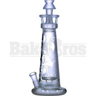 "WP LIGHTHOUSE STRAIGHT TUBE W/ 3D ETCH SAILOR BOAT THEMED 11"" TRANSLUCENT CLEAR FEMALE 14MM"