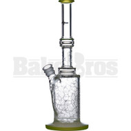 "PULSE GLASS WP STRAIGHT SHOOTER W/ BARREL PERC 3D ETCH 13"" SLIME GREEN FEMALE 18MM"