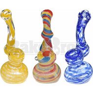 "GLASS BUBBLER HAND PIPE SHERLOCK LINED SPIRAL 5"" ASSORTED"