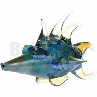 "ANIMAL HAND PIPE GLASS BOAR FISH 7"" BLUE FUMED"