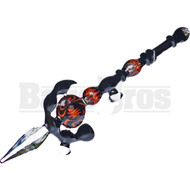 "GLASS HAND PIPE TRIBAL SPEAR W/ FIRE WIG WAG 19"" DICHRO BLACK RED YELLOW"