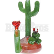 "CROWTHER GLASS MINI CACTUS TUBE 7"" GREEN / RED FEMALE 10MM"