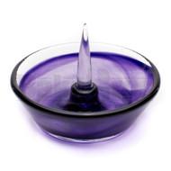 "DEBOWLER GLASS ASHTRAY 5"" PURPLE"