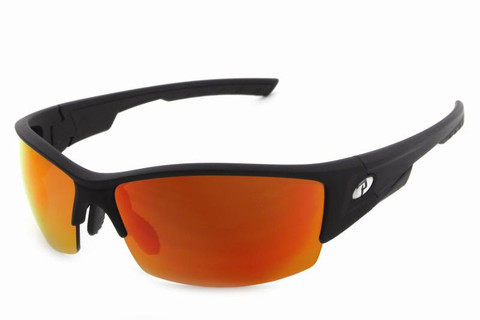 #1 Xenon sunglasses in shiny black and matt grey two tone frame with brown fire emerald mirror 2mm PC lens