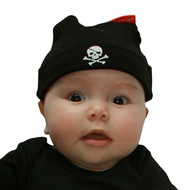Skull and Cross bones cool black baby hat