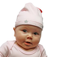 Rock Star Pink baby hat on model