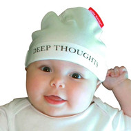 Deep Thoughts baby hat on model