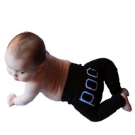 Poo funny black baby leggings on baby model