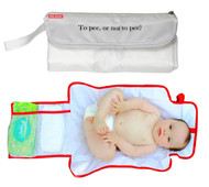 To Pee or not to pee ...? diaper clutch baby changing bag closed view and open view with baby model.