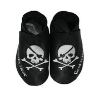 Skull and Cross Bones, Good to the Bone, cool baby black full grain leather baby shoe