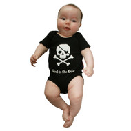 Good to the Bone, Skull and Cross Bones front, and Pirate booty on back, cool baby romper on model