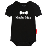 Macho Man with bow tie tuxedo baby romper