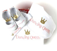 Dancing Queen 4 piece gift set includes: onsie, beanie, bib, shoe and gift box.