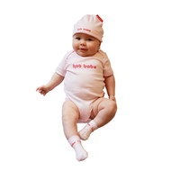 Hot baby romper and hat 2 piece gift set on baby model.