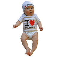 I Love Boobies romper and hat funny newborn baby gift set shown on baby model.