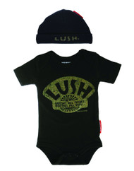 Lush drinks all day potties all night black baby gift set romper and hat