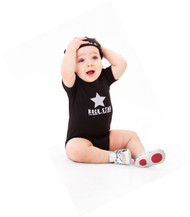 Rock Star baby 2 piece baby black gift set includes romper and hat.