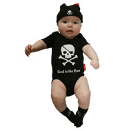 Good to the Bone Skull and Cross Bones and Pirate Booty Body with Skull & Cross Bones body and beanie set on baby model