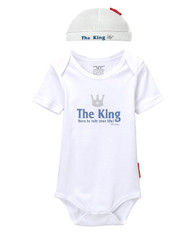 King born to rule your life baby gift set includes baby romper and hat.