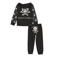 back view of Black skull and cross bones cool baby fleece hoodie and pant set, with pirate booty on the bum.