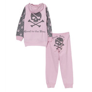 back view of pink and grey skull and cross bones cool baby fleece hoodie and pant set, with pirate booty on the bum.
