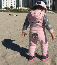 Skull Good to the Bone girl's pink and grey front zip hoody and sweat pants.  Available in baby, toddler and Big Girls.