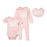 Boys Beware | cool baby girl gift set | pink newborn set, 3 piece play-wear set includes romper, footie and bib.