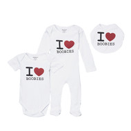 I love boobies funny baby play-wear gift set.  3 piece set includes romper, footie and bib.