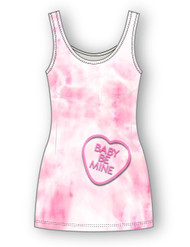 Baby be mine tank. PLEASE NOTE current stock is BLACK with pink heart, NOT pink tie dye the pink tie dye will be in stock in March.