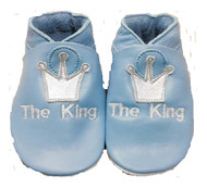 The King blue leather baby shoes