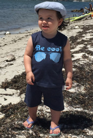 Be cool baby and toddler muscle tee blue with aviator sunglasses and be cool print