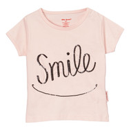 smile pink tee with black smile and happy face in sequins