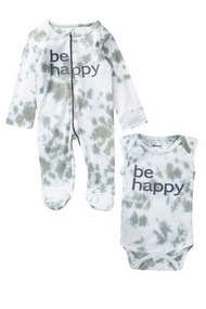 Be Happy | 2 piece set onesie + footie | grey tie dye
