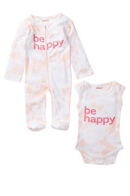 Be Happy | baby girls 2 piece set onesie + footie | pink tie dye