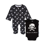 baby boys black skull good to the bone onesie and footie set