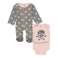 skull pink onesie footie baby girl set
