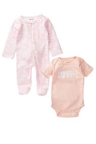 LOVE baby feet | baby girls pink 2 piece onesie + footie set