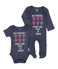 Be yourself everyone else is taken | baby boy's blue balloon 2 piece onesie footie set