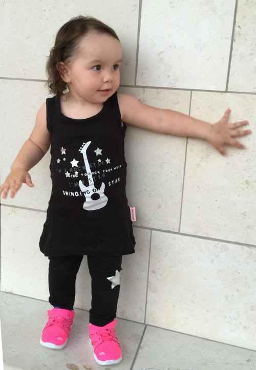 baby and toddler girls black rock star cotton and lycra tank mini dress and legging set