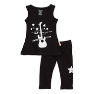 rock star, swinging on a star baby, toddler and girl's black stretch tank dress and leggings.