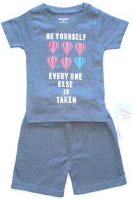 be yourself everyone else is taken boy's blue cotton melange t-shirt and short set available in toddler sizes