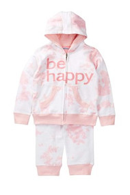 be happy pink tie dye sweat suit in baby, toddler and big girls