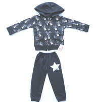 Rock Star black silver and white 2 piece 100% cotton french terry hooded front zip sweat suit available in baby and kids sizes