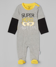 Super Hero - Part Time | infant footie | grey, black, yellow
