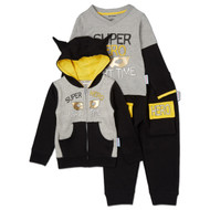 Super Hero - Part Time | infant 3 piece set, hooded sweatsuit w l/s onesie | grey, black, yellow