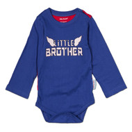 Front view of, Little Brother super hero onesie, with little brother super hero cape, blue cotton with white and red print like super man.