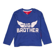 Front View. Big Brother super hero long sleeve tee, with big brother super hero cape.  Big brother blue and red cotton tee.